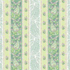 Bavlněná látka Pruhy s květy zelené