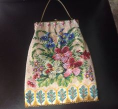 Gorgeous Antique Beaded Purse Bag Flowers 1920's JW Robinson Co | eBay