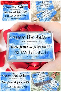 Personalised Blue Watercolour Save The Date Fridge Magnets  #savethedates #fridgemagnets #weddingideas #prandski