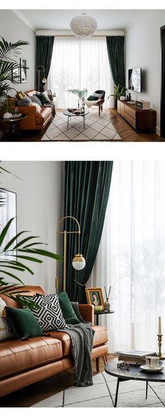 Dark Green Living Room, Living Room Accents, Living Room Warm Colors, Living Room Decor Green, Dark Floor Living Room, Dark Green Rooms, Green Bedroom Decor, Dark Living Rooms, Dining Room Curtains