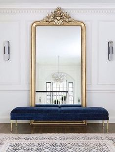 Large floor mirror with bench in front, foyer, entrance area, gold floor mirror . - Home Decor Interior Design Inspiration, Decor Interior Design, Home Decor Inspiration, Interior Decorating, Decor Ideas, Decorating Ideas, Design Ideas, Art Deco Interior Bedroom, French Interior Design