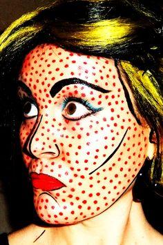 Roy Lichtenstein. Pop Art Makeup. Halloween Costume.