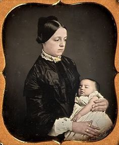 Victorian post-mortem hand-tinted daguerreotype. Imagine a time when families didn't own a single photo or painting of their loved one. The childhood mortality rate of the Victorian era was particularly high. For many of these grieving families, a post-mortem photograph may have been the only image they would ever have of their child. Poor thing, she just looks inconsolable. Shell-shocked.