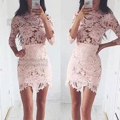Solid color sexy lace bodycon dress