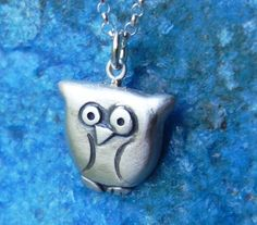 Owl necklace in sterling silver by Fingerprince on Etsy, $36.00