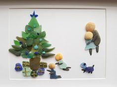 Sea glass art, Christmas Family gift, Framed sea glass art, Christmas morning, Family of four with dog, Personalized Family Gift, by madebynatureandme on Etsy