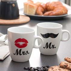 If you're looking for unique mugs to give as presents, the Mr & Mrs individual mugs will spark your interest! They are made of porcelain and sold separately