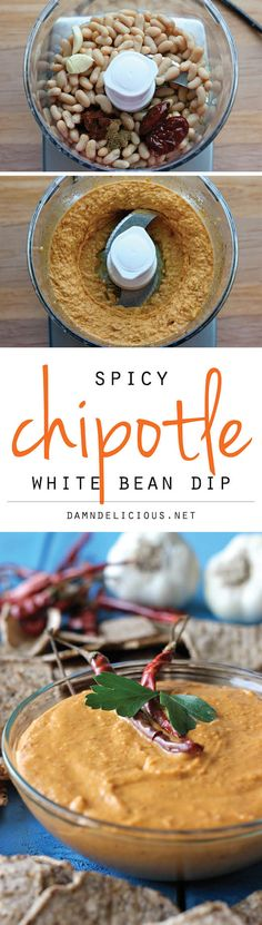 Spicy Chipotle White Bean Dip - A healthy bean dip with a spicy kick that you could easily make in the food processor in 5 minutes!