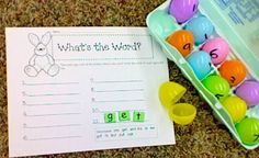 sight words for kids to decode in an egg carton!