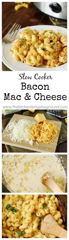 Slow Cooker Bacon Macaroni and Cheese ~ with two kinds of creamy cheese, bacon, and crockpot convenience, it will be a favorite at your house for sure!   http://www.thekitchenismyplayground.com