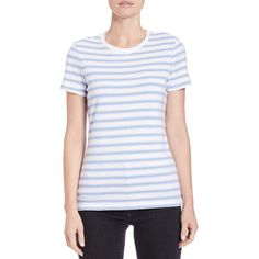 Lord & Taylor Petite  Striped Roundneck Tee ($7.47) ❤ liked on Polyvore featuring tops, t-shirts, petite, purple, stripe tee, short sleeve crew neck t shirt, petite tee, striped tee and petite t shirts