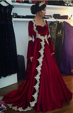 Arabic Dubai Long Sleeves Kaftan Evening Dresses 2017 Hot Burgundy Velvet With Appliques Long Vintage Muslim Prom Dresses Party Gowns. Muslim Prom Dress, Muslim Evening Dresses, Muslim Gown, Muslim Wedding Dresses, Indian Wedding Outfits, Long Sleeve Evening Gowns, Prom Dresses Long With Sleeves, Long Dresses, Maxi Dresses