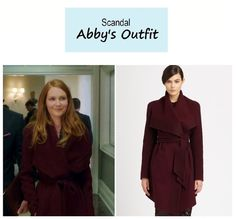 "On the blog: Abby's (Darby Stanchfield) purple spread collar, belted cashmere coat | Scandal - ""The Fluffer"" (Ep. 316) #tvstyle #tvfashion  #outfits #fashion"