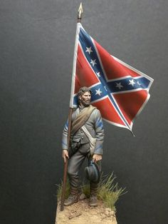 Confederate Color Sergeant, Army of Tennessee, ca. Military Figures, Military Diorama, Military Art, Confederate States Of America, Confederate Flag, Civil War Art, Southern Heritage, Military Modelling, Cowboy Art
