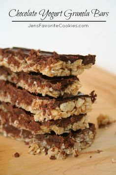 Chocolate Yogurt Granola Bars from Jen's Favorite Cookies-Contains peanut butter.  Good for at home or work snacks but not school.