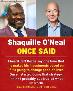 What are your thoughts on bezos's investment trick?🤔 . 👉🏼Follow@businessgrowthmentor 👥 Tag someone who needs this 🔔Turn on Post Notifications⠀ 👨🏼💻 Save to see Later Again. Learn Earn, Shaquille O'neal, Net Worth, Investing, Thoughts, Sayings, Learning, Lyrics, Studying