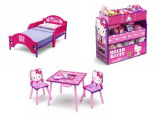 Hello Kitty Toddler Bed Toy Storage Bin Organizer Table And Chair Set Bedroom Hellokitty