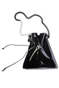 Street style fashion bag - black patent leather shoulder bag - urban chic  bucket bag b6cb8700e1
