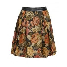 Parisian Floral Print Pleated Full Midi Skirt in Black £ 19.95 #FloralPleatedSkirt #chiarafashion