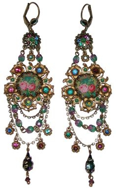 Michal Negrin Victorian Style Roses Cameo Swarovski Crystal Earrings