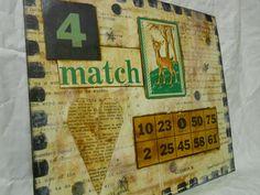 Match 4  - original mixed media - WALL HANGING - collage. $35.00, via Etsy.