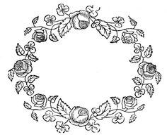 Royalty Free Images - Rose Wreaths - Embroidery Pattern