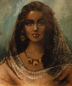Fotna Galal was an Egyptian painter Pretty Egyptian girl in pink dress and wearing Jewellery Renaissance Paintings, Renaissance Art, Mode Poster, Arabian Art, Turkish Art, Arte Pop, Classical Art, Egyptian Art, Old Art