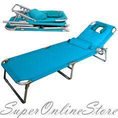 High Quality Aluminium Folding Tanning Reclining Sun Bed Lounge Pool Beach Chair Sunbed  Blue