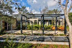 This contemporary farm house was designed around a central courtyard to create privacy. An ode to the farmhouse design, incorporating glass and steel. Farmhouse Design, Modern Farmhouse, Courtyards, Bay Window, Facade, Outdoor Living, Pergola, Contemporary, Mansions