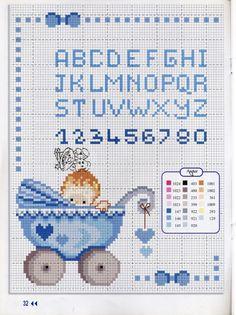Baby in Pram / Buggy Blue Alphabet Sampler Pattern Baby Cross Stitch Patterns, Cross Stitch For Kids, Cross Stitch Alphabet, Cross Stitch Art, Cross Stitch Samplers, Cross Stitching, Cross Stitch Embroidery, Crochet, Barn
