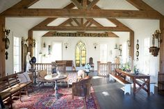 Sheryl Crow lived in a Spanish-style house in LA that she filled with religious collectibles. So she had plenty of items to furnish her sanctuary from the get-go. Sheryl has since supplemented the serene retreat with tons of religious items from eBay, including the stained glass window and stately front doors.