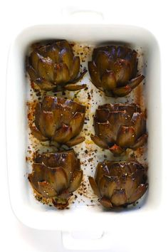 Seriously The Most Amazing Roasted Artichokes Recipe They're Stuffed With Lots Of Garlic And Herbs, Seasoned With Lots Of Lemon And Black Pepper, And Roasted To Crispy, Tender Perfection. The Perfect Vegetable Side Dish Gimme Some Oven Roasted Artichoke Recipe, Baked Artichoke, Roasted Artichokes, Artichoke Recipes, Veggie Recipes, Appetizer Recipes, Vegetarian Recipes, Cooking Recipes, Healthy Recipes