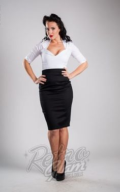 Retro Glam - Pin Up Couture Retro Pencil Skirt in Black