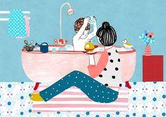 Illustration print 'Bathtime' Size x cm) Printed on thick 300 gsm paper. Magazine Illustration, Illustration Art, Cute Sketches, Flower Company, Mom Son, Paper Embroidery, Gsm Paper, Illustrations, Mother And Child