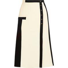Balenciaga Crepe skirt, White, Women's, Size: 40 ($1,790) ❤ liked on Polyvore featuring skirts, balenciaga, balenciaga skirt, a line skirt, white draped skirt and white striped skirt