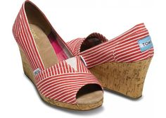 Want - Red Nautical Stripe Woman's Wedges