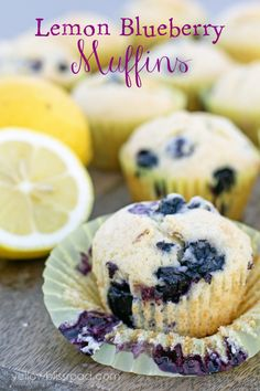 Lemon Blueberry Muffins - tender and fluffy blueberry muffins with a hint of lemon { lilluna.com }