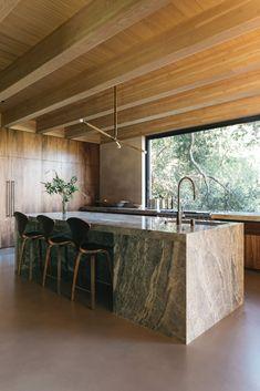 Modern Bar Stools, Modern Dining Table, Kitchen Island Oak, Kitchen Wood, Bungalow Renovation, Modern Light Fixtures, Modern Lighting, Wood Ceilings, Kitchen Cabinetry