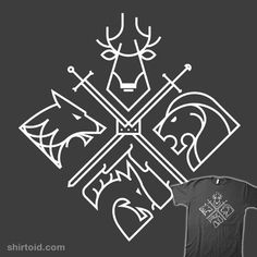 """Throne Houses"" aka ""Minimal Thrones"" by Spike00 Baratheon, Stark, Lannister, and Targaryen sigils"