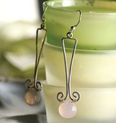 """""""Grecian Rose"""" earrings with pink chalcedony gemstone beads and wirework by Susanna Tam in Bead Trends Magazine. #gemstone #earrings #wirework"""