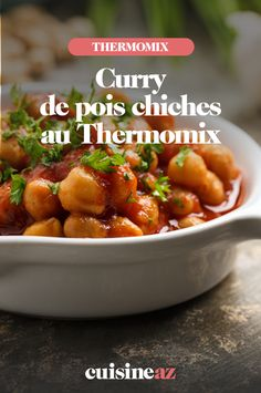 Une recette vegan de curry de pois chiches à cuisiner au Thermomix.  #recette #cuisine #curry #poischiche #vegan #robotculinaire #thermomix 20 Min, Chana Masala, Robot, Ethnic Recipes, Chickpeas, Cooking Recipes, Cooking Food, Meal, Vegetarian Curry