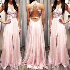 V-neck Pink Appliques Slit V-neck Prom Dress Maxi Dress Formal Dresses