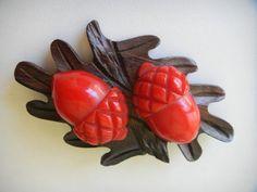 Vintage Red Bakelite Acorn on Wood Base Brooch Pin