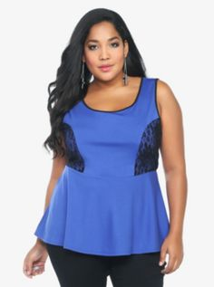 Lace Inset Peplum Top
