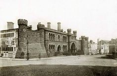 House of Correction, St. John's Street, Nottingham, c 1900. The prison covered about ten thousand square yards of land, and was formerly occupied as a hospital, dedicated to St. John the Baptist. By the time the map of 1899 was published, the building was already in disuse as a prison. It was located at the east corner of Glasshouse Street and King Edward Street.