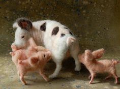"""By artist Sara Renzulli of """"Sarafina Fiber Art and Fine Art""""    She writes:  """"All of a sudden I had to make pigs. More specifically, piglets. But once I had the piglets they needed a mother.    These are my first four - mother and three piglets. Each is needle felted with wool onto posable wire armatures. Mamma is 8.5"""" long and 5"""" tall. She is white with black spots and pink undertones. Each piglet is approximately 3.5"""" long and 2"""" tall."""""""