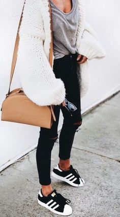 Oversized white cardigan with gray tee and black jeans. #teesandjeansoutfit