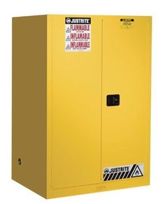 """Justrite Sure-Grip EX 899000 Safety Cabinet for Flammable Liquids, 2 Door Manual Close, 90 gallon, 65""""Height, 34""""Width, 34""""Depth, Steel, Yellow by Justrite. $1007.45. Sure-Grip EX includes New Exclusive Features to make a workplace Extra safe, Extra Secure. U-Loc Padlockable Handle, Haz-Alert Reflective Labeling,   SpillSlope Safety Shelves. Safety Can Storage; Factory Mutual (FM) Approved; Meets NFPA, OSHA, and Uniform Fire Code requirements; 1 Adjustable Shel..."""