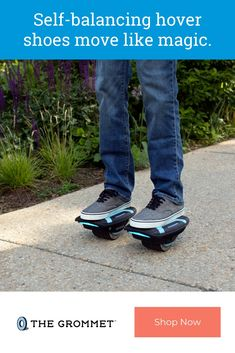 These self-balancing hover shoes make for quick learning and improved safety. Strap on a LED-lit pair and lean your body in the direction you want to go in; lean back to brake. There's a learning curve but once you get it, you won't want to stop. You can hover around up to five miles and at speeds up to 6.2 miles per hour on a single charge. Led Glow Lights, Unique Gifts For Kids, Cool Tech Gadgets, Battery Indicator, Cool Technology, Top Gifts, Pedestrian, Safety, Self