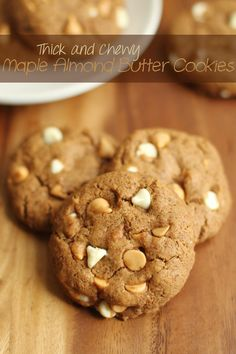 Flourless Maple Almond Butter Cookies - 1 bowl, 5 simple ingredients, and no flour or butter || runningwithspoons.com